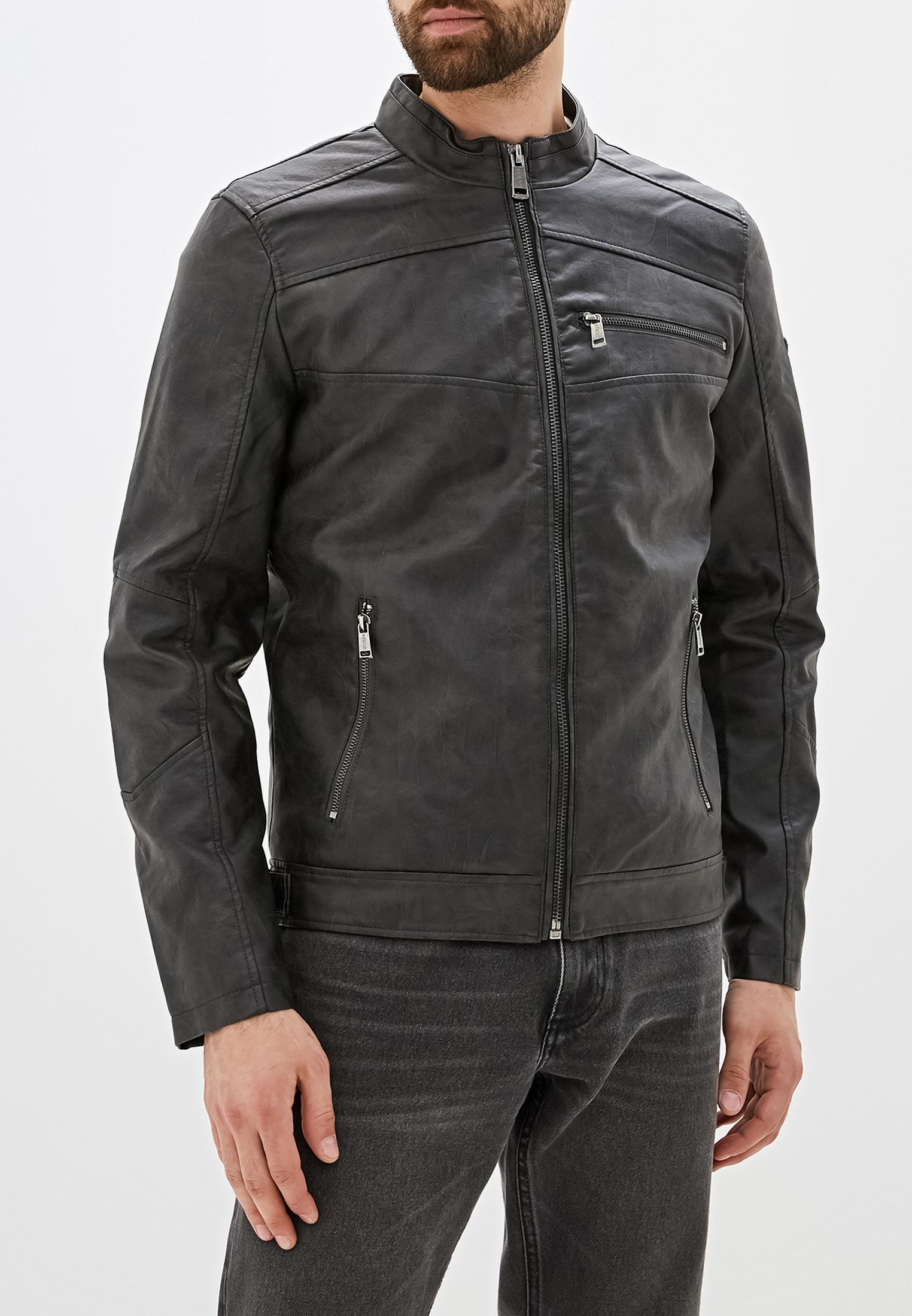 Куртка кожаная, Guess Jeans, цвет: черный. Артикул: GU644EMFNLO1. Одежда / Верхняя одежда / Кожаные куртки