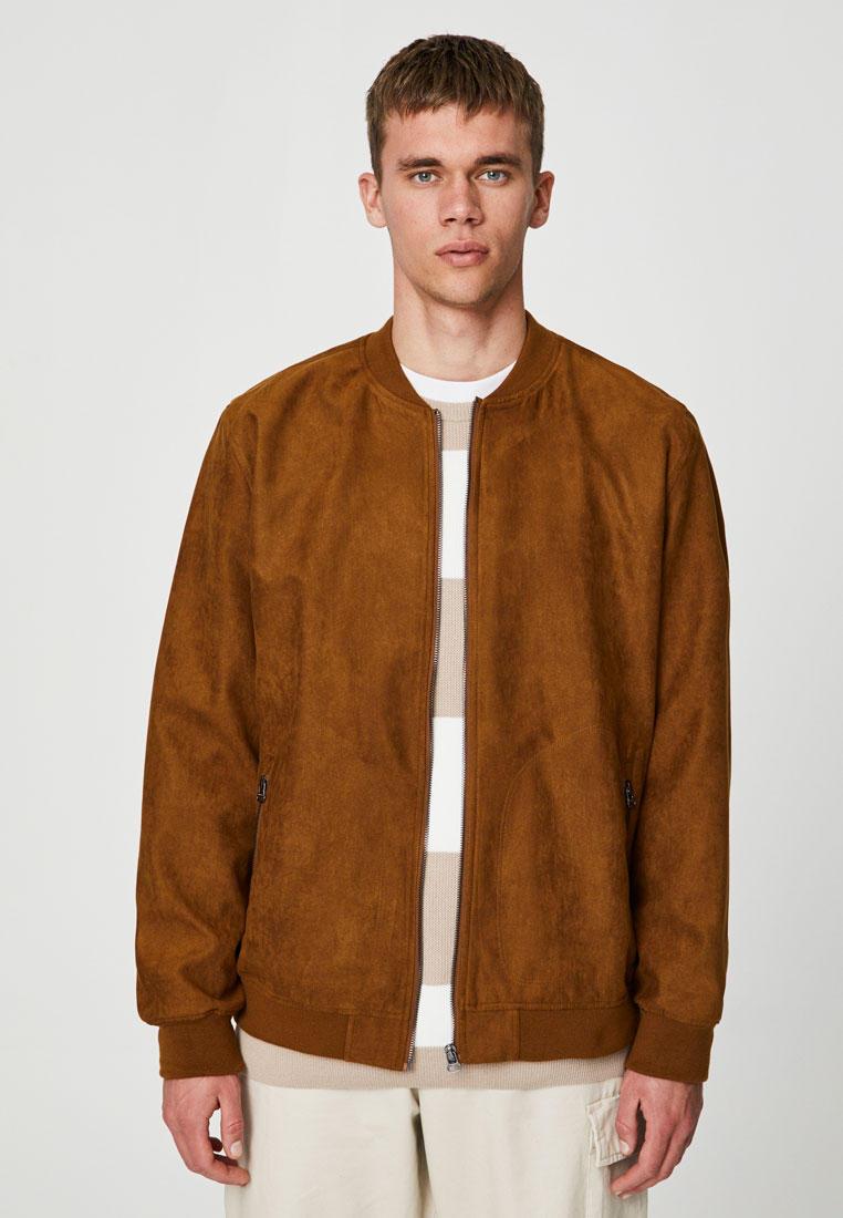 Куртка кожаная, Pull&Bear, цвет: коричневый. Артикул: IX001XM00615. Одежда / Верхняя одежда / Кожаные куртки