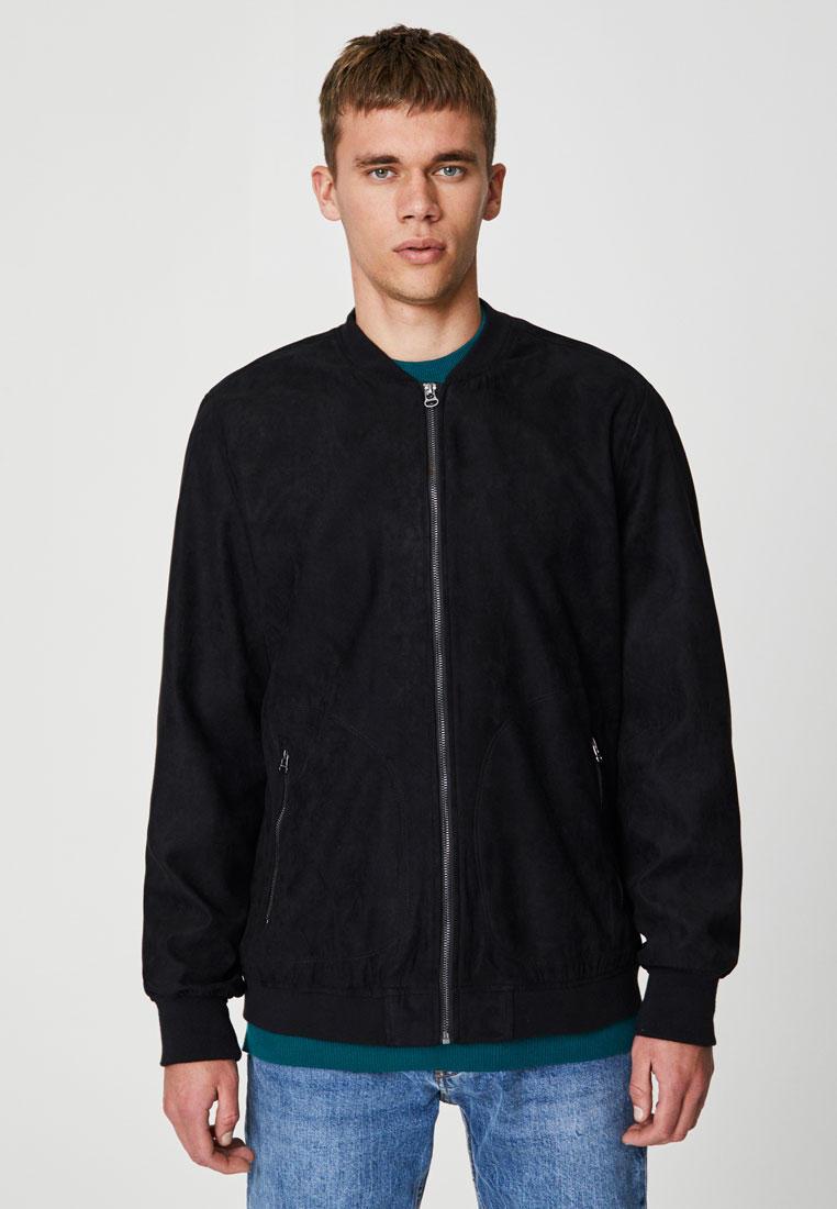Куртка кожаная, Pull&Bear, цвет: черный. Артикул: IX001XM00616. Одежда / Верхняя одежда / Кожаные куртки