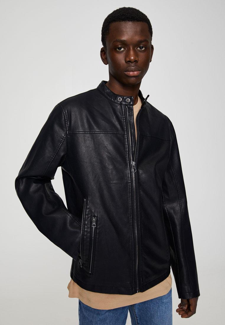 Куртка кожаная, Pull&Bear, цвет: черный. Артикул: IX001XM0061Z. Одежда / Верхняя одежда / Кожаные куртки