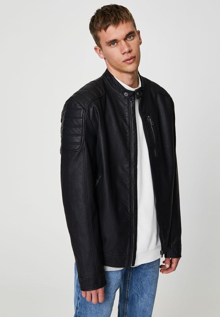 Куртка кожаная, Pull&Bear, цвет: черный. Артикул: IX001XM0064I. Одежда / Верхняя одежда / Кожаные куртки