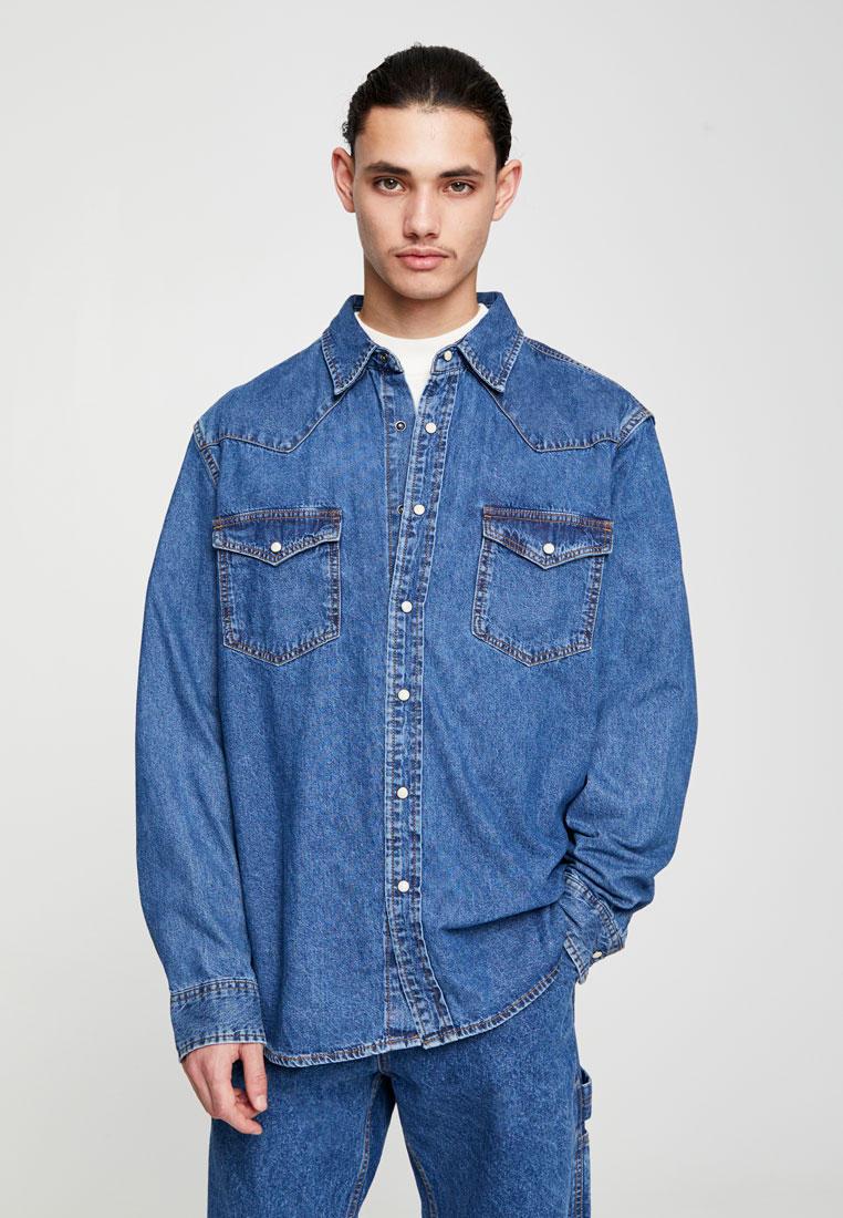Рубашка джинсовая Pull&Bear за 1 799 ₽. в интернет-магазине Lamoda.ru