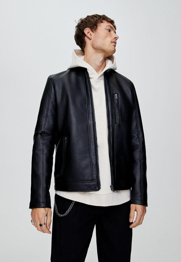 Куртка кожаная, Pull&Bear, цвет: черный. Артикул: IX001XM006FO. Одежда / Верхняя одежда / Кожаные куртки