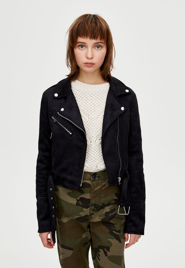 Куртка кожаная, Pull&Bear, цвет: черный. Артикул: IX001XW003I0. Одежда / Верхняя одежда / Косухи