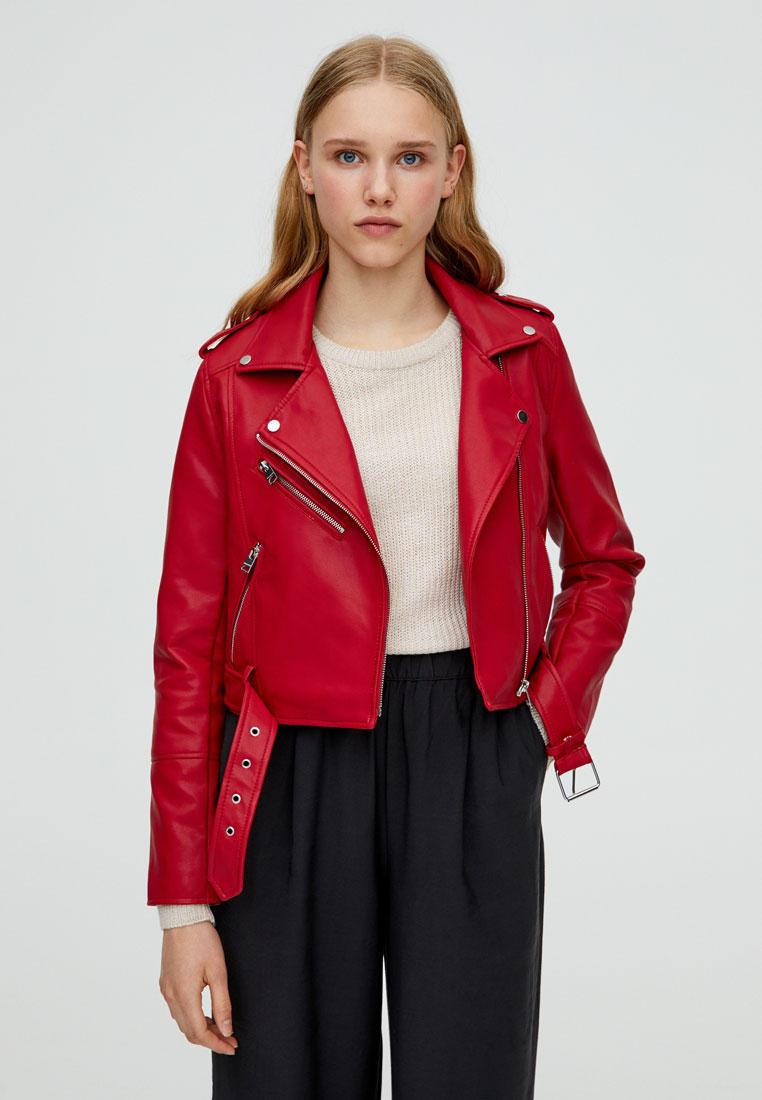 Куртка кожаная, Pull&Bear, цвет: красный. Артикул: IX001XW00A4M. Одежда / Верхняя одежда / Косухи