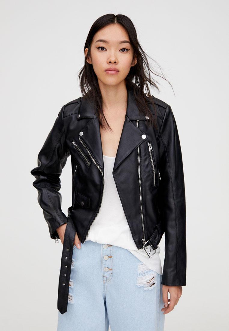 Куртка кожаная, Pull&Bear, цвет: черный. Артикул: IX001XW00B8M. Одежда / Верхняя одежда / Косухи