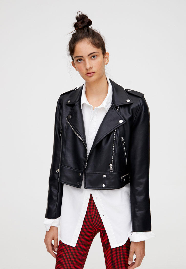 Куртка кожаная, Pull&Bear, цвет: черный. Артикул: IX001XW00B9F. Одежда / Верхняя одежда / Косухи
