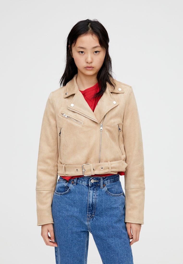 Куртка кожаная, Pull&Bear, цвет: бежевый. Артикул: IX001XW00BP4. Одежда / Верхняя одежда / Косухи