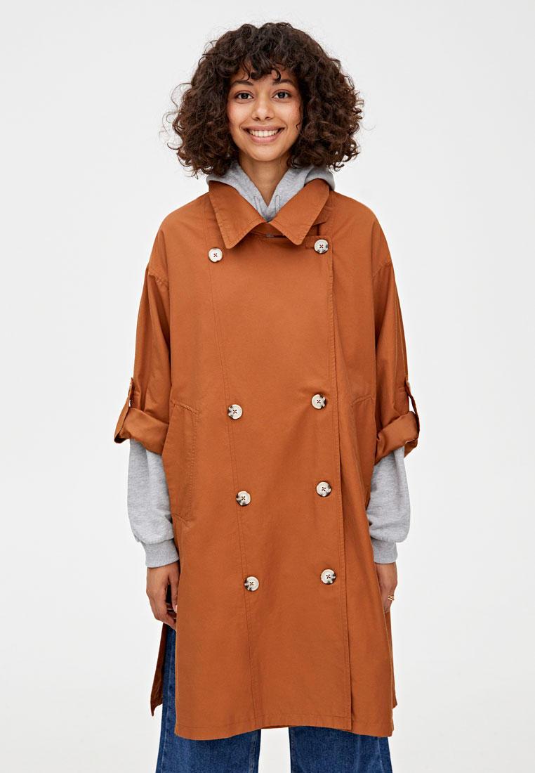 Плащ, Pull&Bear, цвет: коричневый. Артикул: IX001XW00DE5. Одежда
