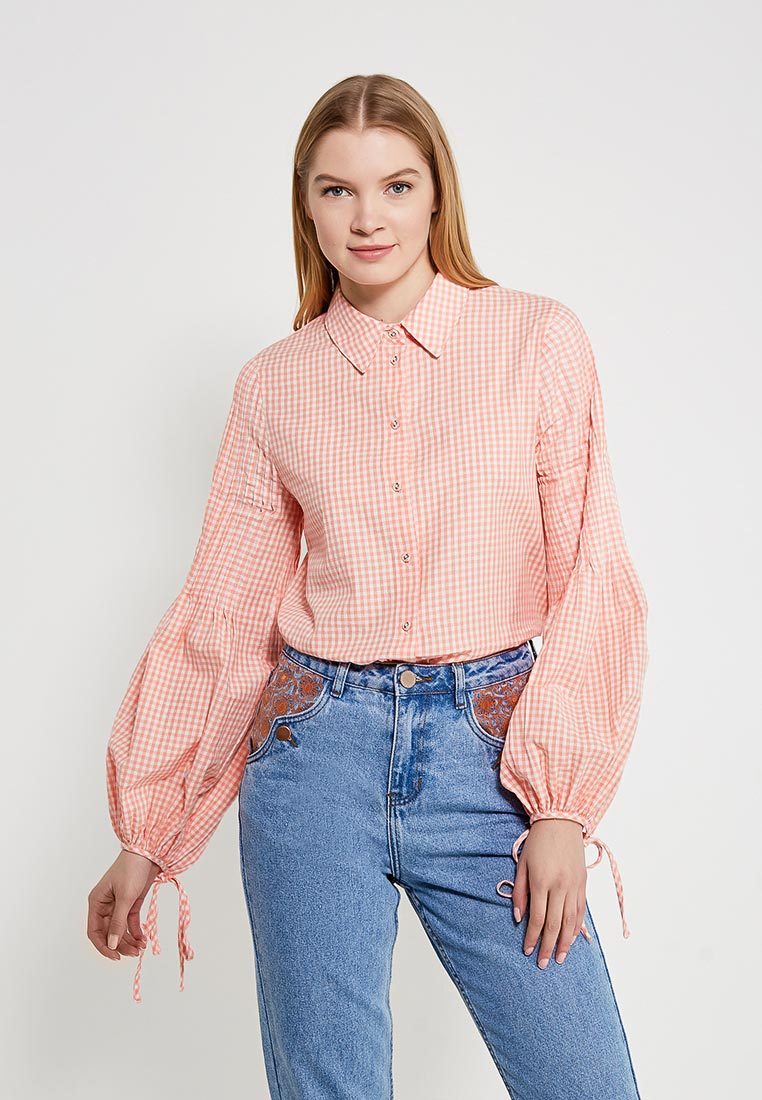 Блуза LOST INK GINGHAM PLEAT SLEEVE SHIRT