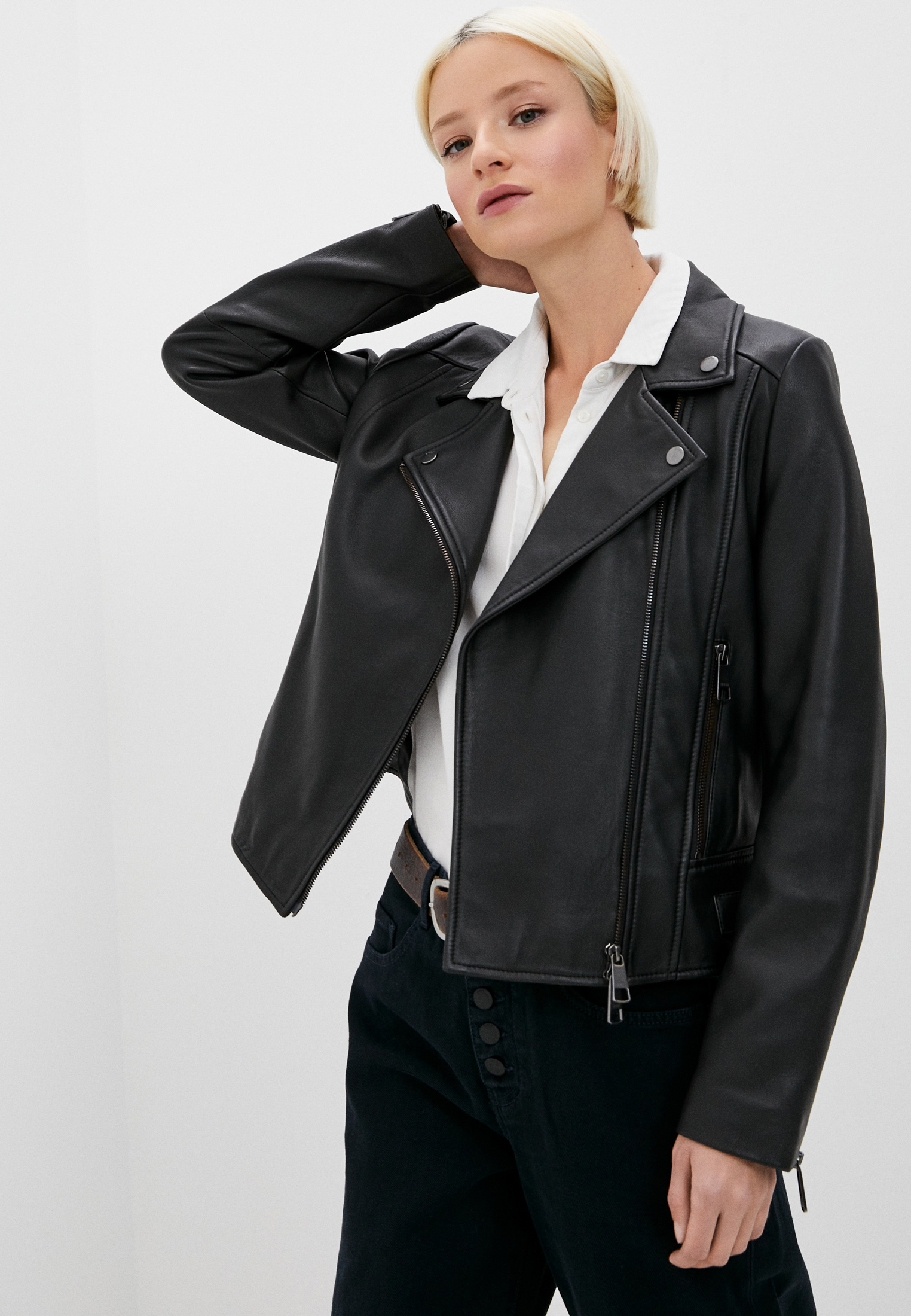 Куртка кожаная Boss C_Sajuana за 50 000 ₽. в интернет-магазине Lamoda.ru