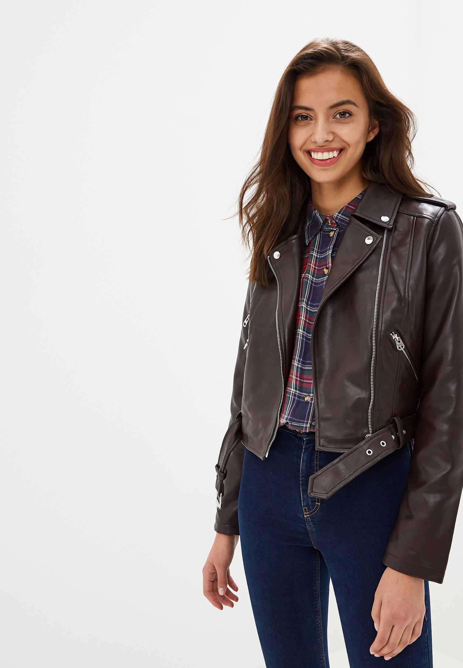 Куртка кожаная, Befree, цвет: коричневый. Артикул: MP002XW0RE0L. Одежда / Верхняя одежда / Косухи