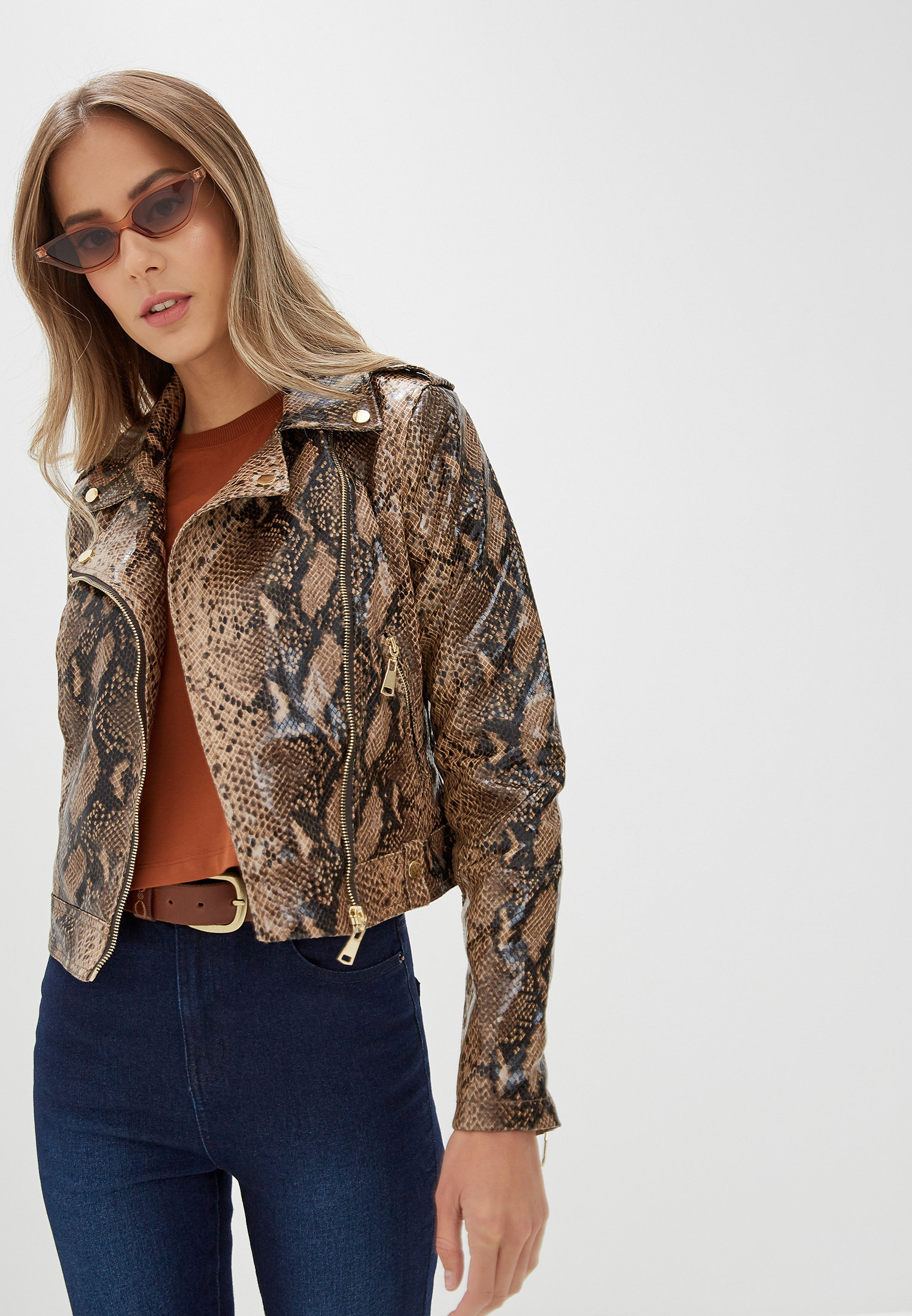 Куртка кожаная, Befree, цвет: коричневый. Артикул: MP002XW0RJO7. Одежда / Верхняя одежда / Косухи