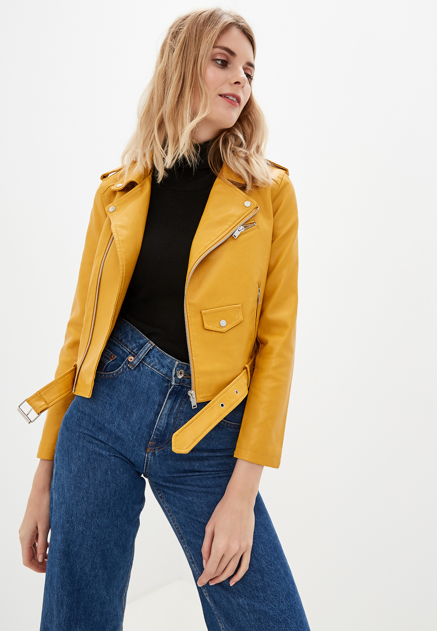 Куртка кожаная, Elardis, цвет: желтый. Артикул: MP002XW0RJY4. Одежда / Верхняя одежда / Косухи