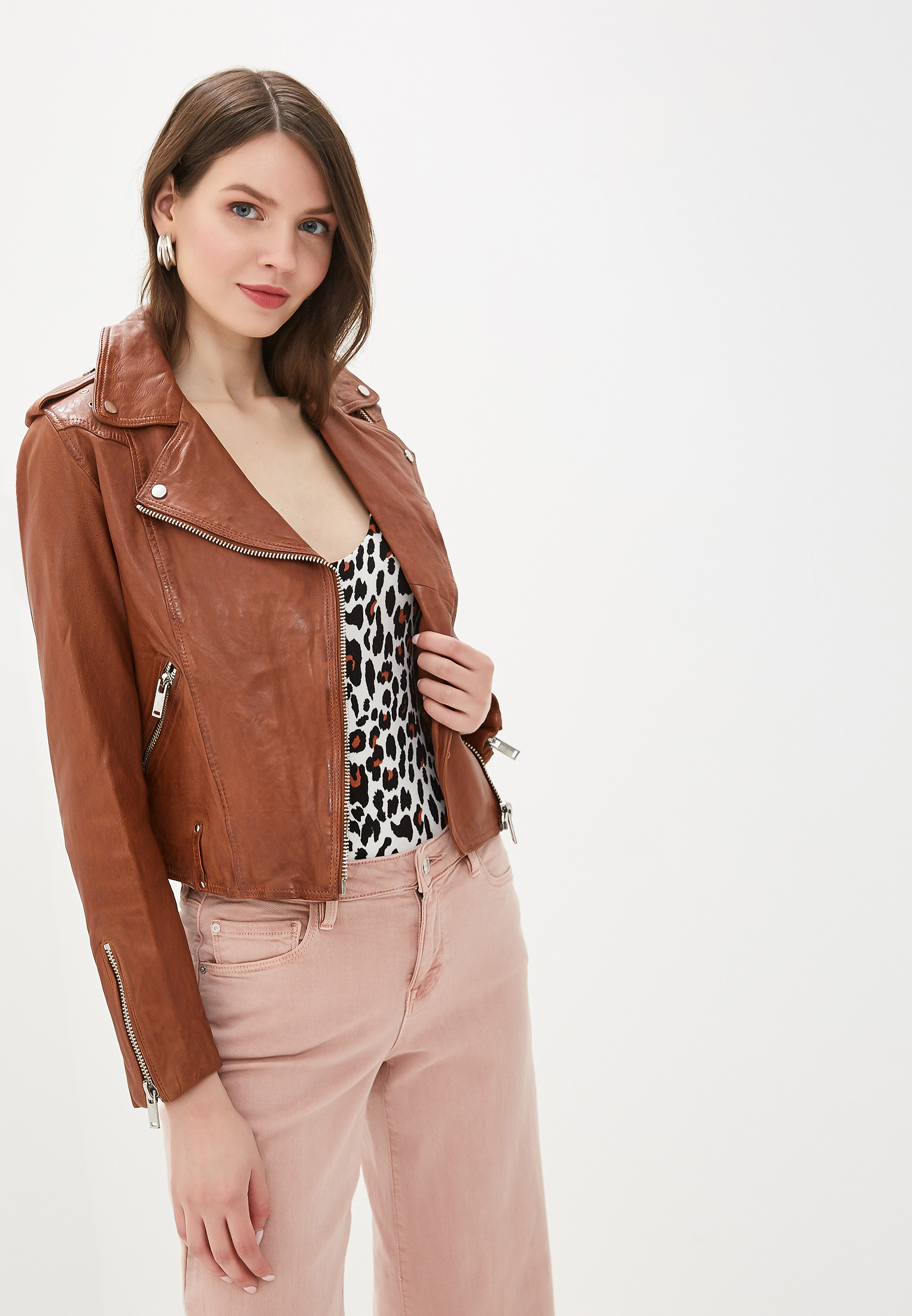 Куртка кожаная, La Reine Blanche, цвет: коричневый. Артикул: MP002XW0WNID. Одежда / Верхняя одежда / Косухи