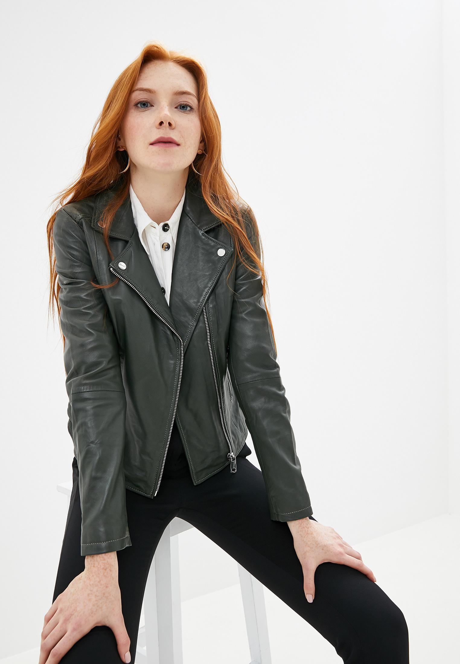 Куртка кожаная, La Reine Blanche, цвет: хаки. Артикул: MP002XW125JY. Одежда / Верхняя одежда / Косухи