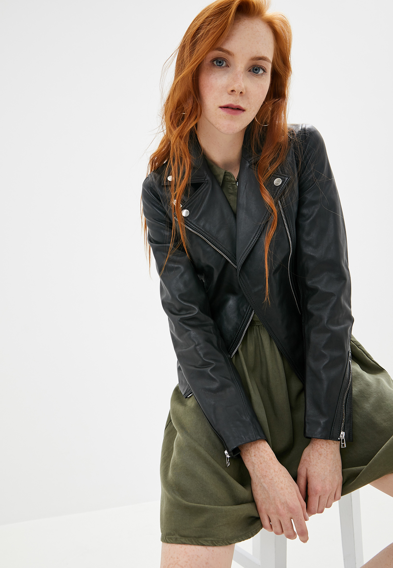 Куртка кожаная, La Reine Blanche, цвет: оранжевый. Артикул: MP002XW125K3. Одежда / Верхняя одежда / Косухи