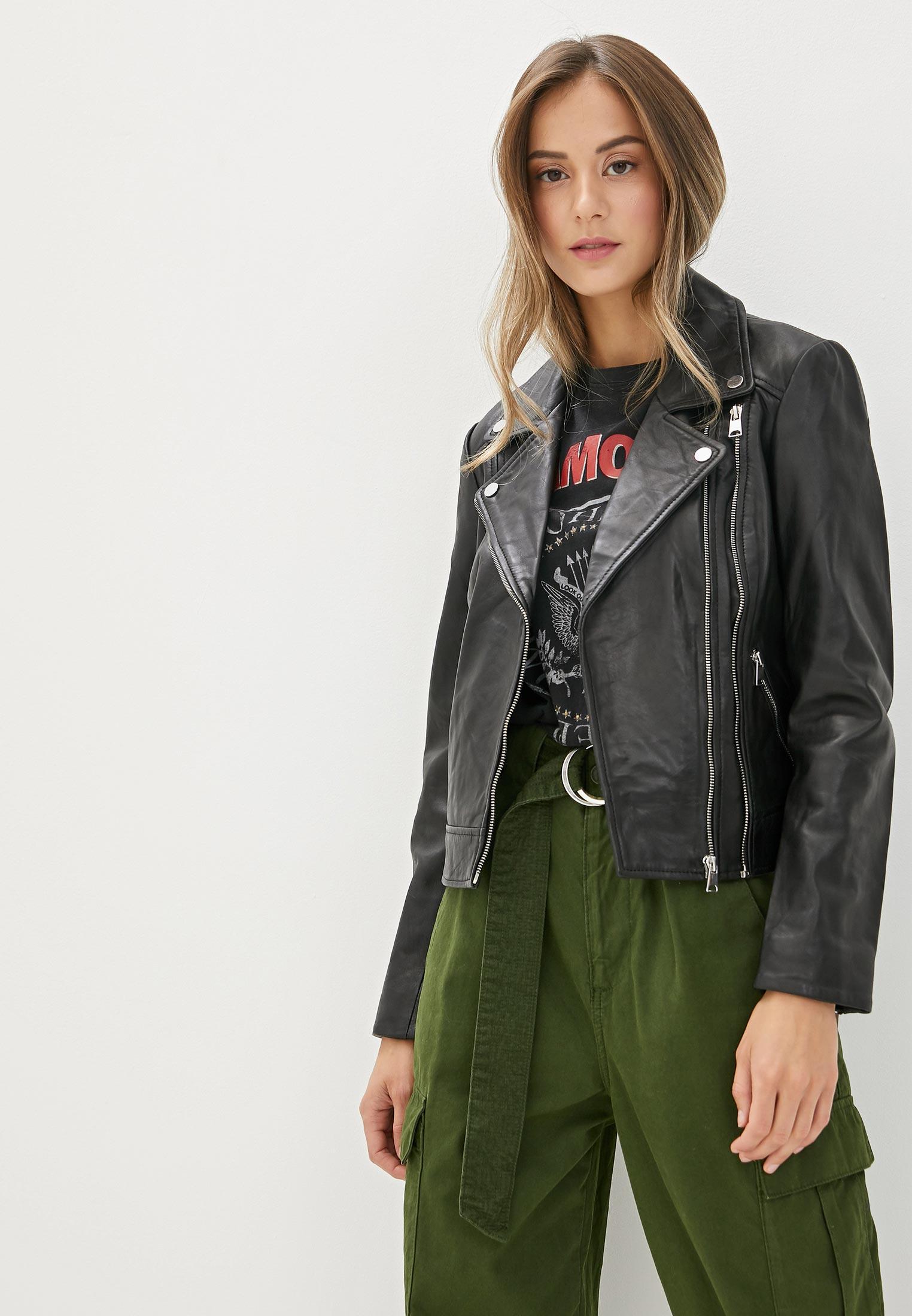 Куртка кожаная, La Reine Blanche, цвет: черный. Артикул: MP002XW125K7. Одежда / Верхняя одежда / Косухи