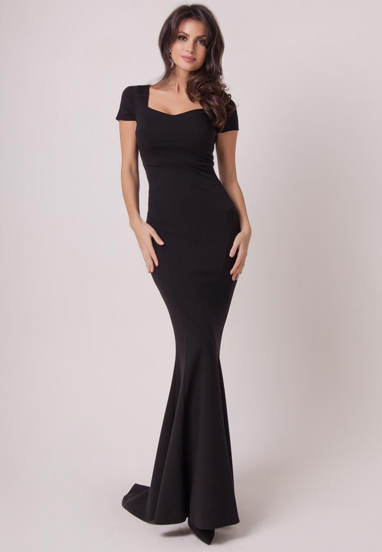 Черные длинные вечерние платья фото