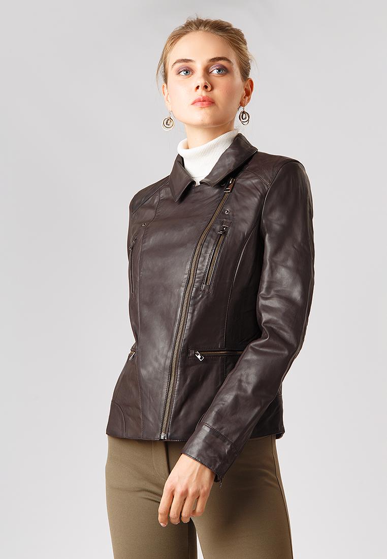 Куртка кожаная, Finn Flare, цвет: коричневый. Артикул: MP002XW1CS8Z. Одежда / Верхняя одежда / Косухи