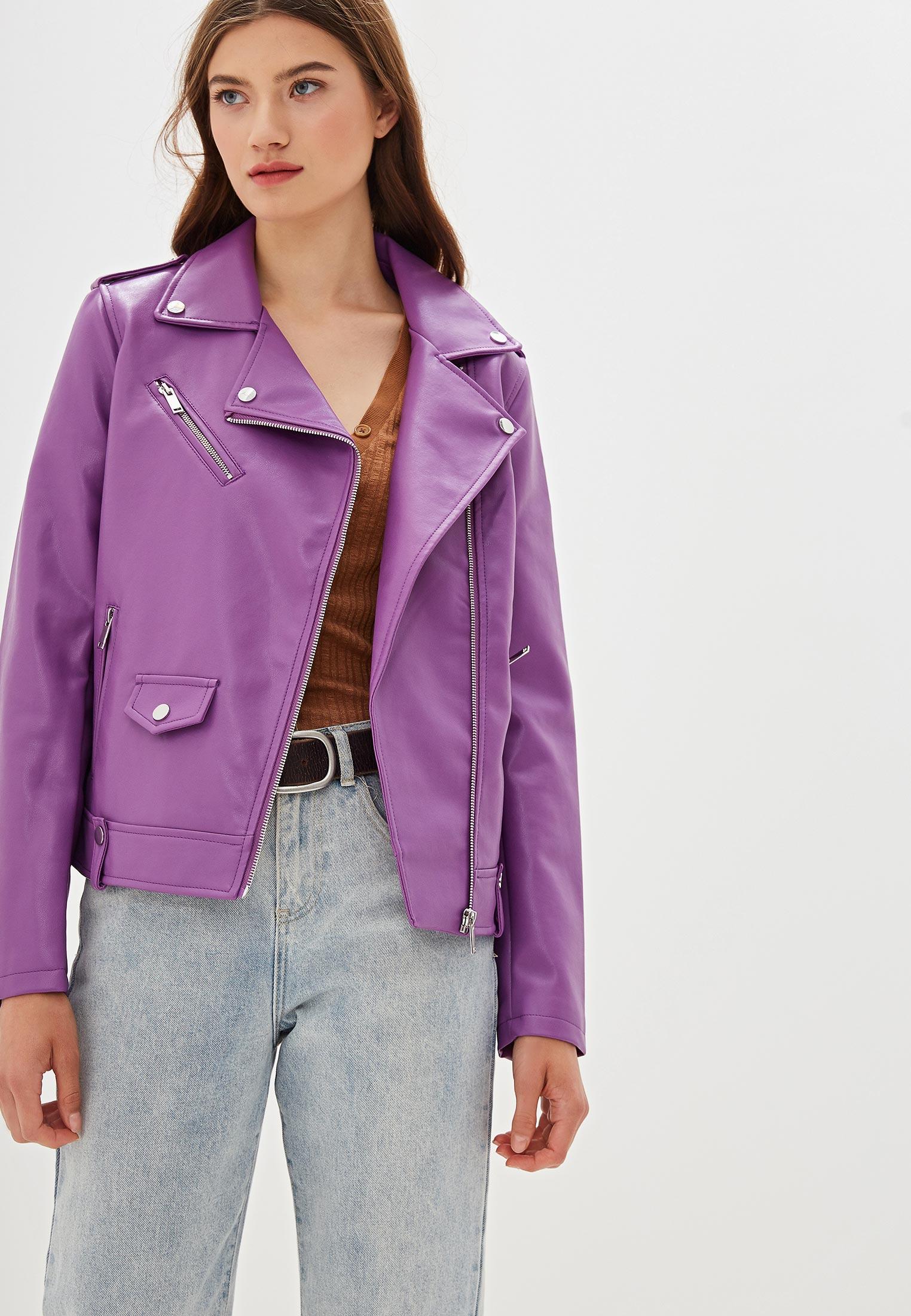 Куртка кожаная, Nice & Chic, цвет: фиолетовый. Артикул: NI031EWEKXG9. Одежда / Верхняя одежда / Косухи