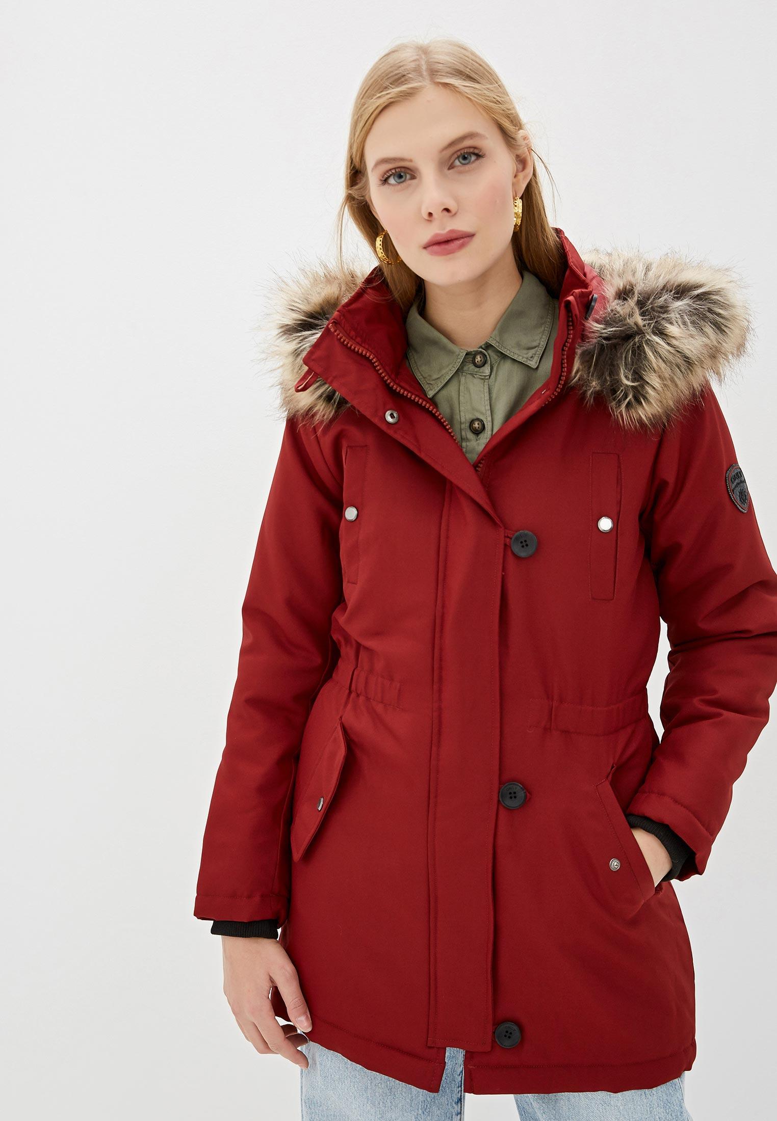 Парка, Only, цвет: бордовый. Артикул: ON380EWFPDG9. Одежда / Верхняя одежда / Парки