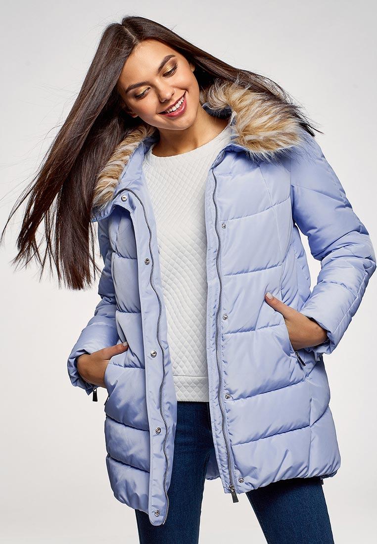 Куртка утепленная, oodji, цвет: голубой. Артикул: OO001EWDSSG1. Одежда / Верхняя одежда