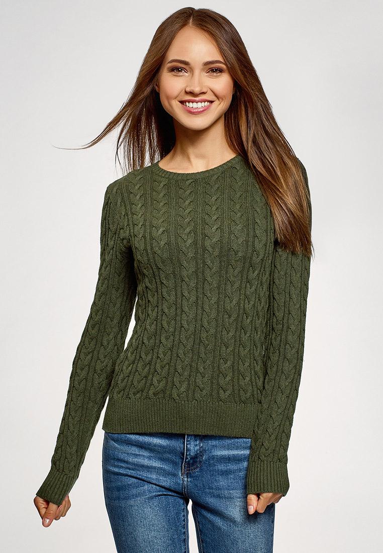 Джемпер, oodji, цвет: хаки. Артикул: OO001EWFZUV7. Одежда / Джемперы, свитеры и кардиганы