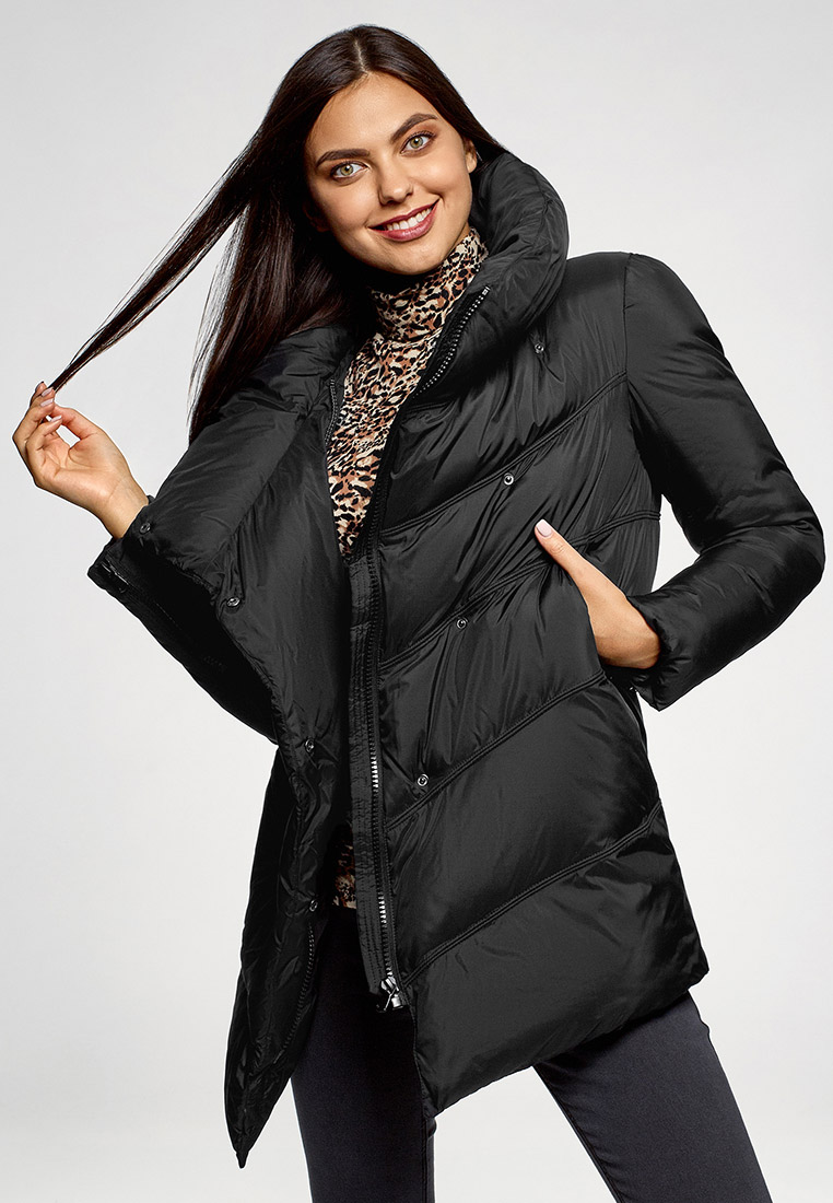Куртка утепленная, oodji, цвет: черный. Артикул: OO001EWGEXC1. Одежда / Верхняя одежда