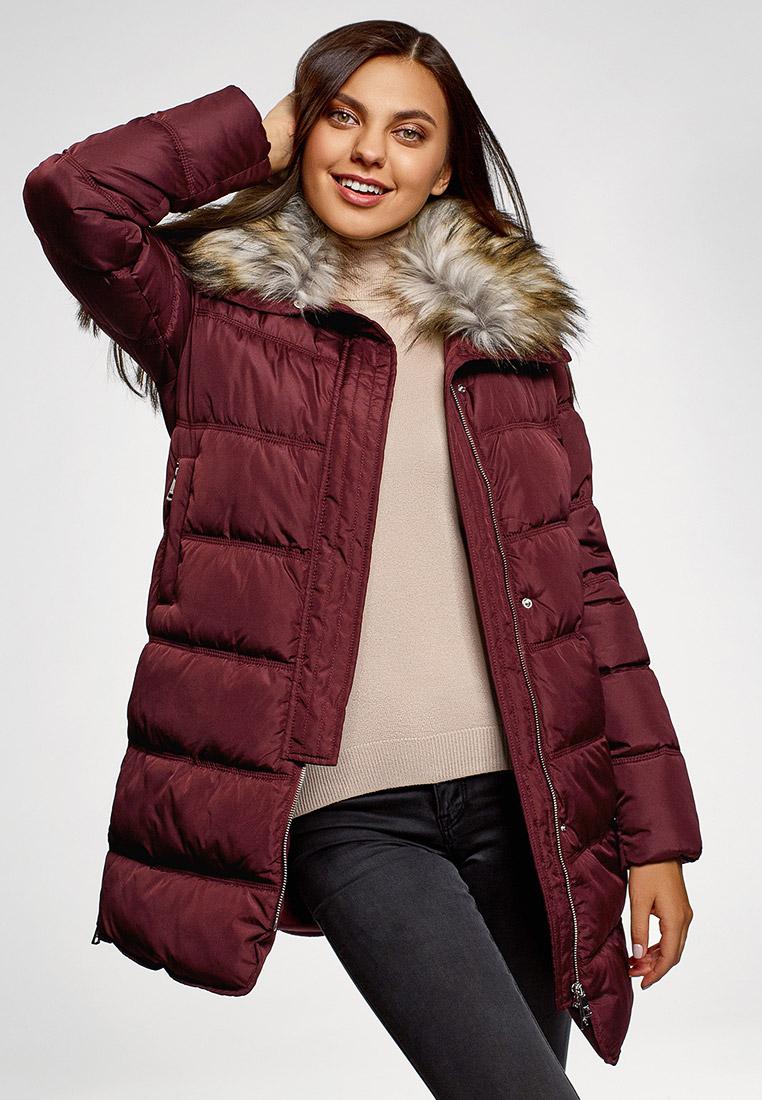 Куртка утепленная, oodji, цвет: бордовый. Артикул: OO001EWGUGX9. Одежда / Верхняя одежда