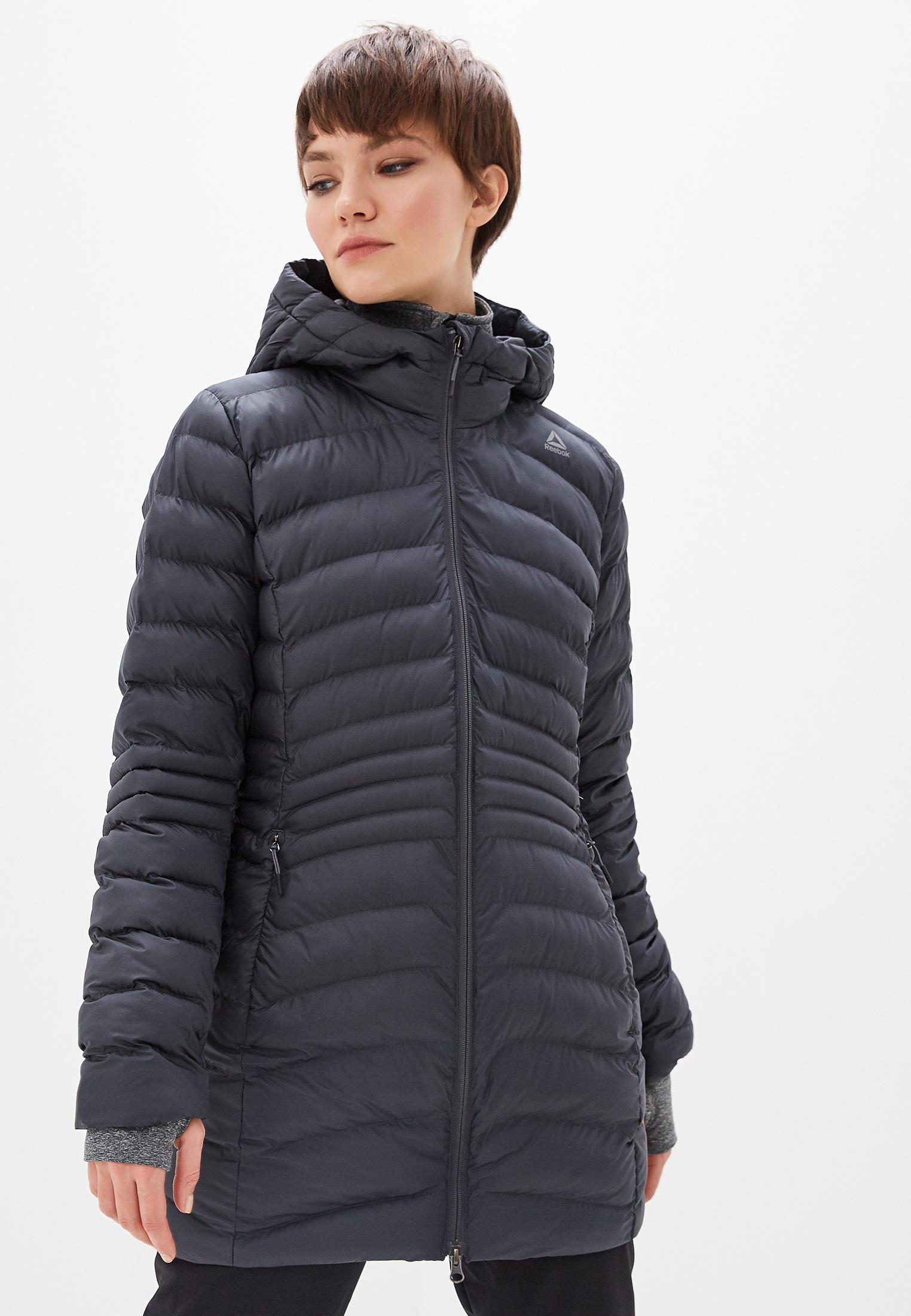 Куртка утепленная, Reebok, цвет: серый. Артикул: RE160EWFKMS3. Одежда / Верхняя одежда