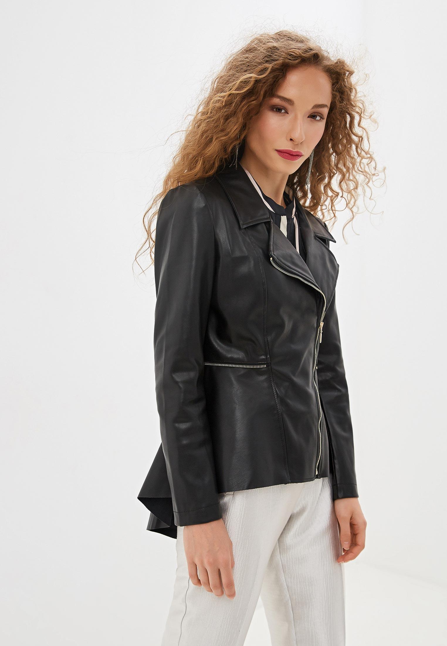 Куртка кожаная, Rinascimento, цвет: черный. Артикул: RI005EWGAZM6. Одежда / Верхняя одежда / Косухи
