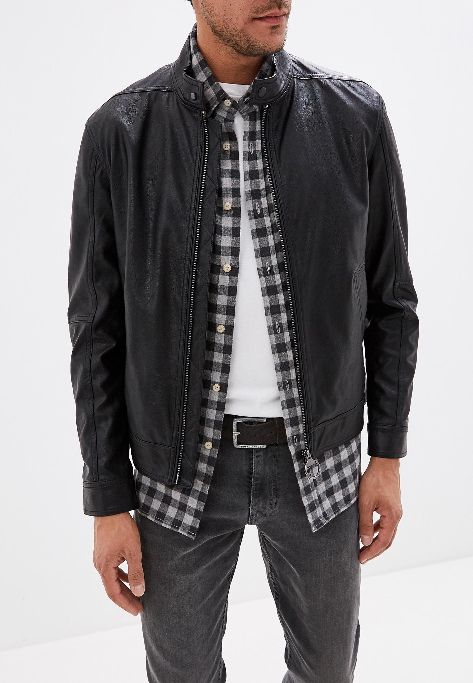 Куртка кожаная, Sisley, цвет: черный. Артикул: SI007EMFUGB9. Одежда / Верхняя одежда / Кожаные куртки