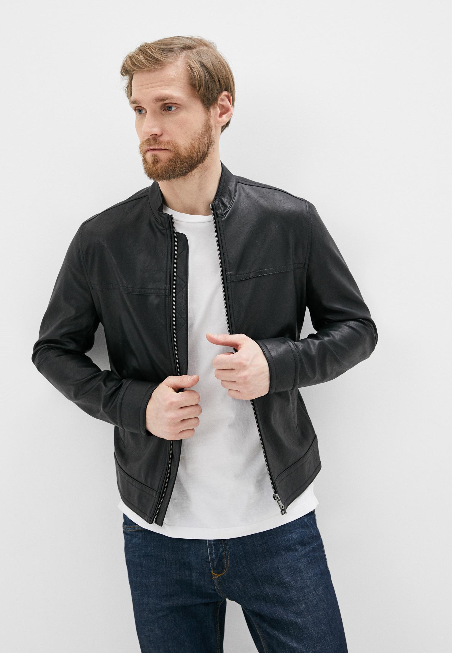 Куртка кожаная, Sisley, цвет: черный. Артикул: SI007EMHWLZ1. Одежда / Верхняя одежда / Кожаные куртки