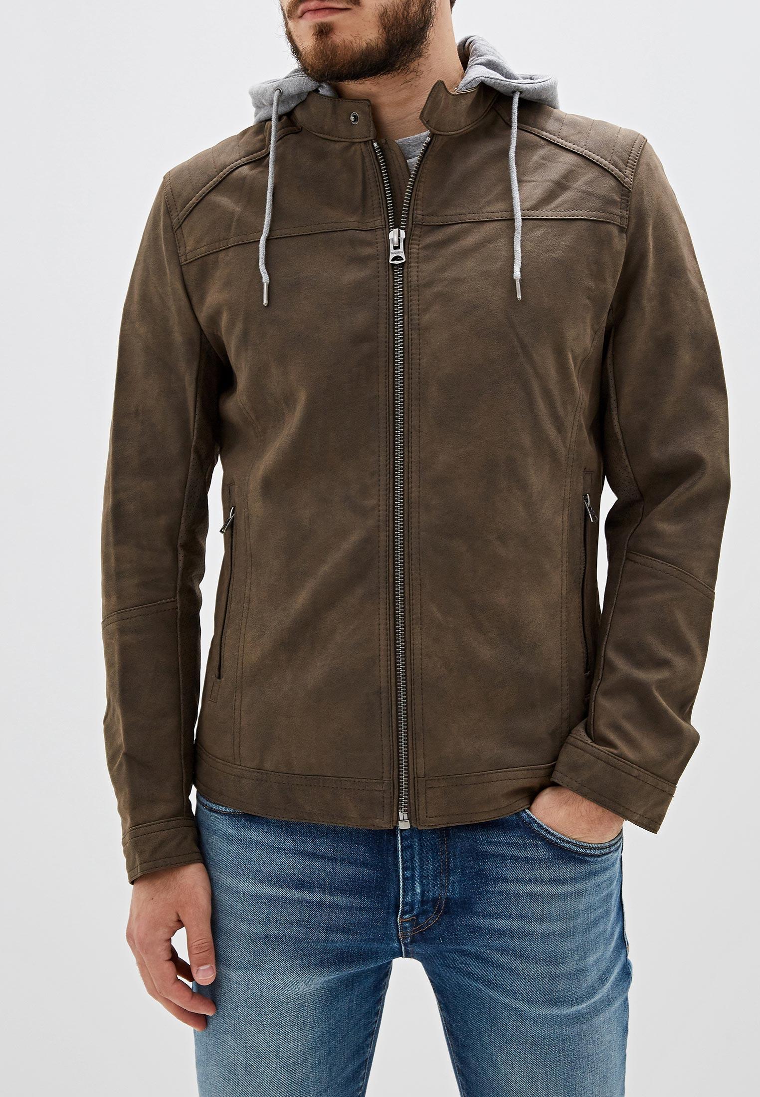 Куртка кожаная, Springfield, цвет: коричневый. Артикул: SP014EMGFAL4. Одежда / Верхняя одежда / Кожаные куртки