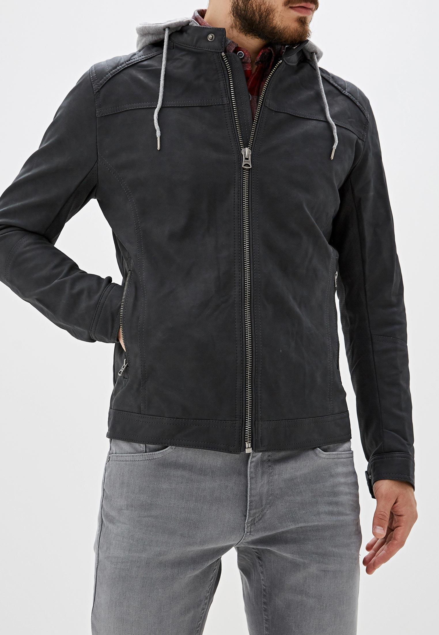 Куртка, Springfield, цвет: серый. Артикул: SP014EMGFAL5. Одежда / Верхняя одежда / Кожаные куртки
