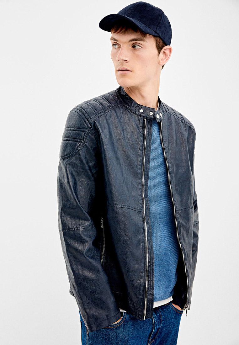 Куртка кожаная, Springfield, цвет: синий. Артикул: SP014EMGFAL8. Одежда / Верхняя одежда / Кожаные куртки