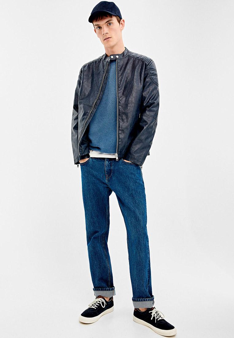 Куртка кожаная, Springfield, цвет: синий. Артикул: SP014EMGFAL9. Одежда / Верхняя одежда / Кожаные куртки