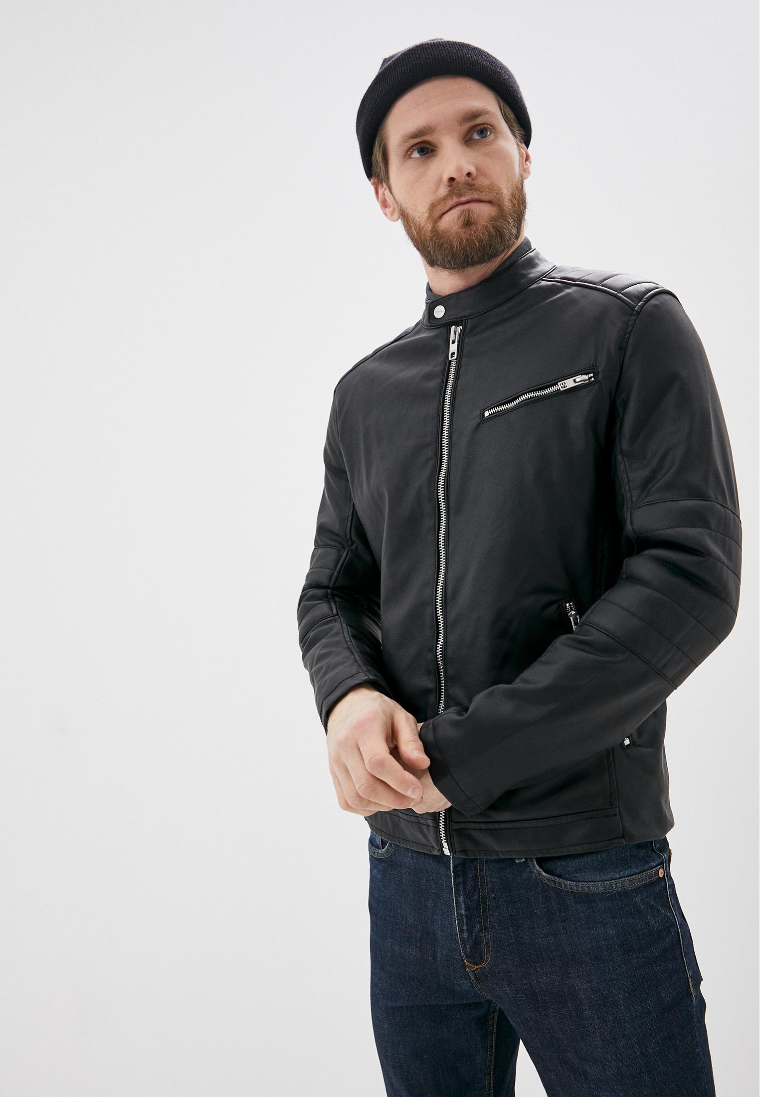 Куртка кожаная, Springfield, цвет: черный. Артикул: SP014EMHVGY9. Одежда / Верхняя одежда / Кожаные куртки
