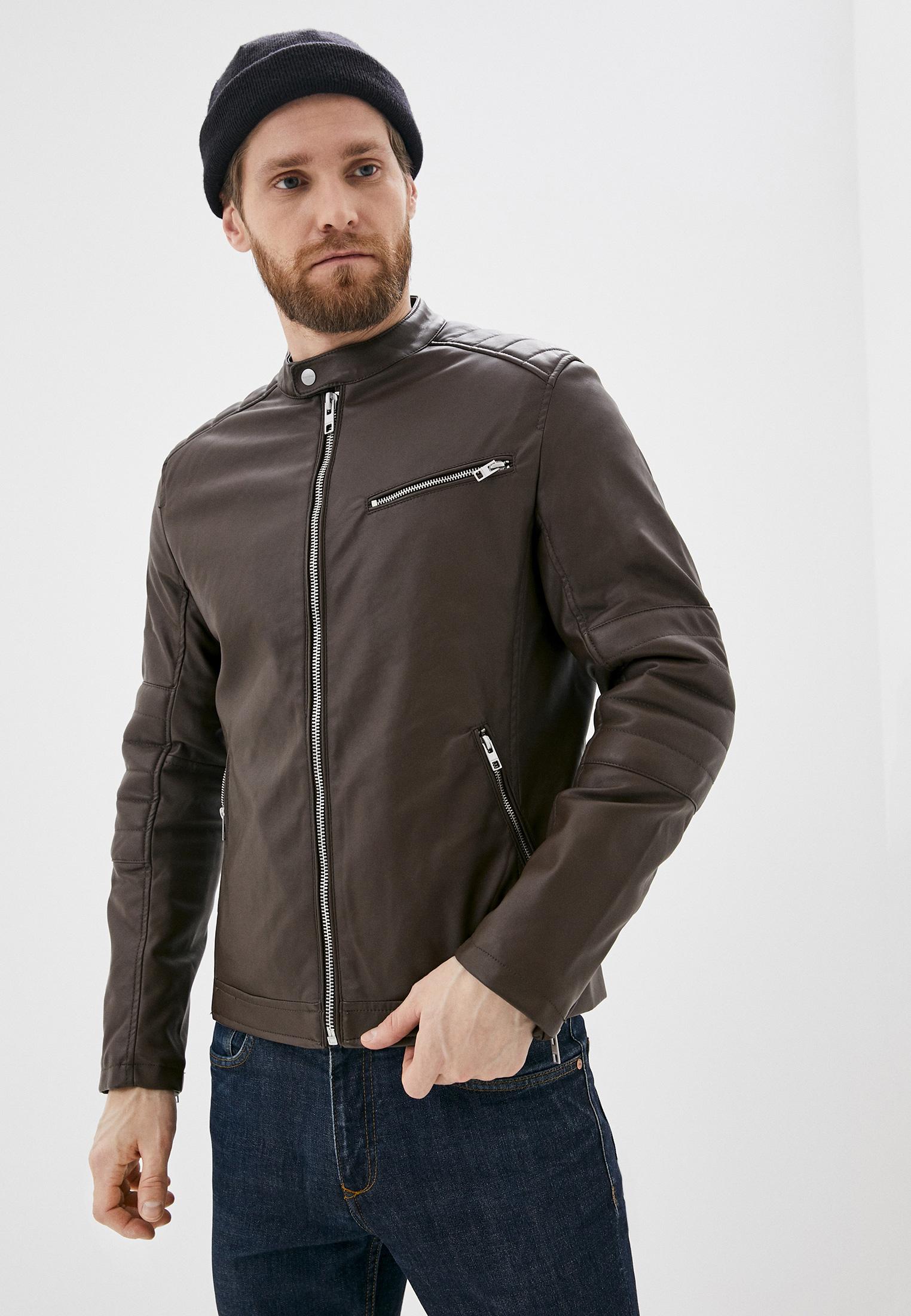 Куртка кожаная, Springfield, цвет: коричневый. Артикул: SP014EMHVGZ0. Одежда / Верхняя одежда / Кожаные куртки