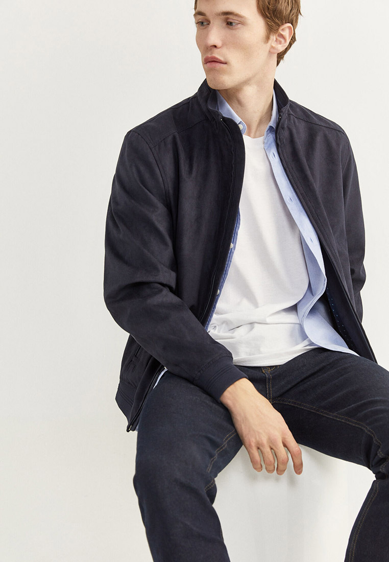 Куртка кожаная, Springfield, цвет: синий. Артикул: SP014EMHVGZ1. Одежда / Верхняя одежда / Кожаные куртки