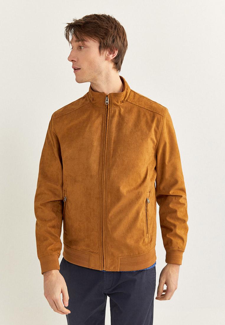 Куртка кожаная, Springfield, цвет: коричневый. Артикул: SP014EMHVGZ2. Одежда / Верхняя одежда / Кожаные куртки