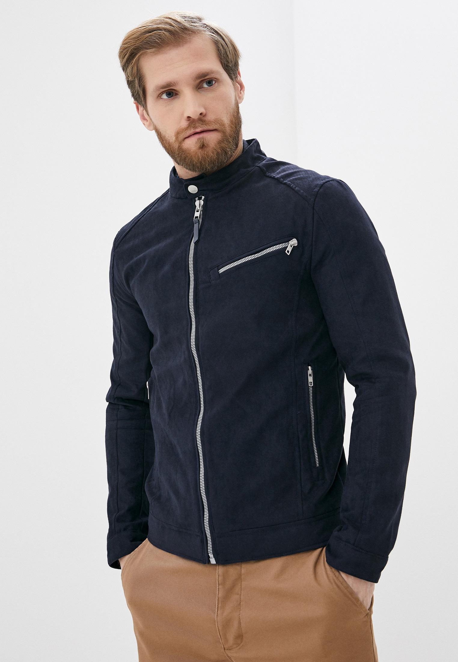 Куртка кожаная, Springfield, цвет: синий. Артикул: SP014EMHVGZ5. Одежда / Верхняя одежда / Кожаные куртки