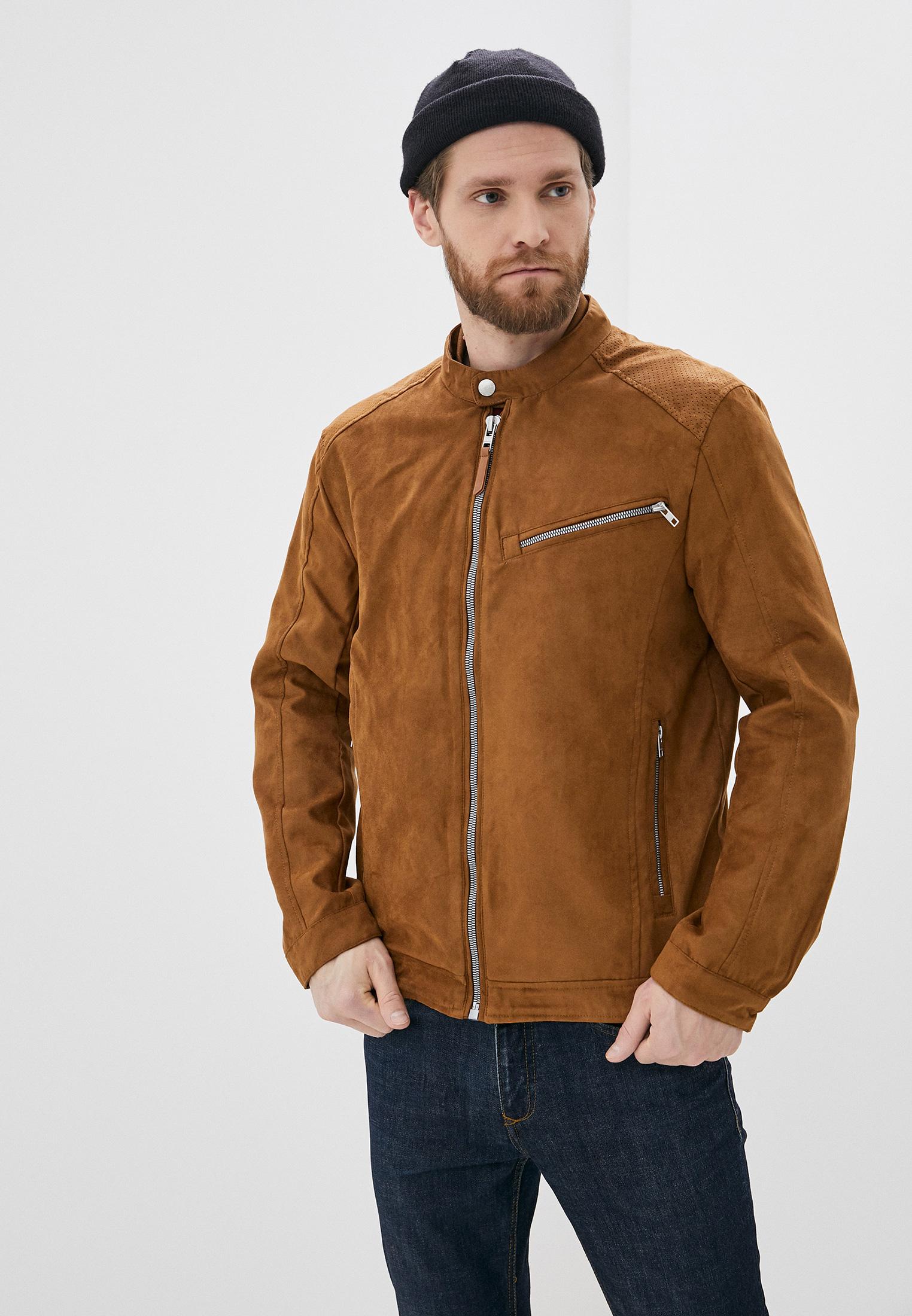 Куртка кожаная, Springfield, цвет: коричневый. Артикул: SP014EMHVGZ6. Одежда / Верхняя одежда / Кожаные куртки