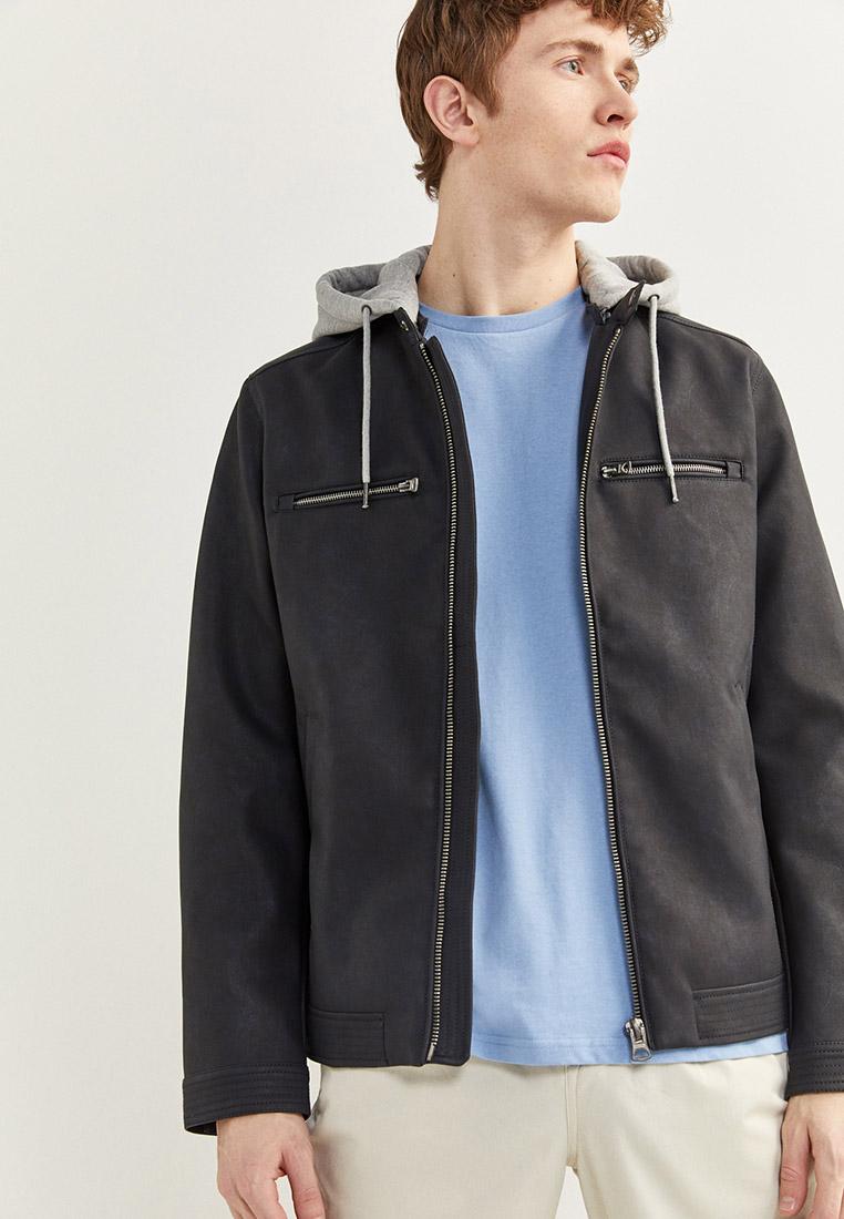 Куртка кожаная, Springfield, цвет: синий. Артикул: SP014EMHVGZ7. Одежда / Верхняя одежда / Кожаные куртки