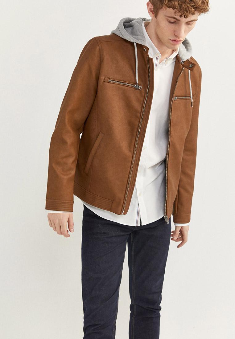 Куртка кожаная, Springfield, цвет: коричневый. Артикул: SP014EMHVGZ8. Одежда / Верхняя одежда / Кожаные куртки