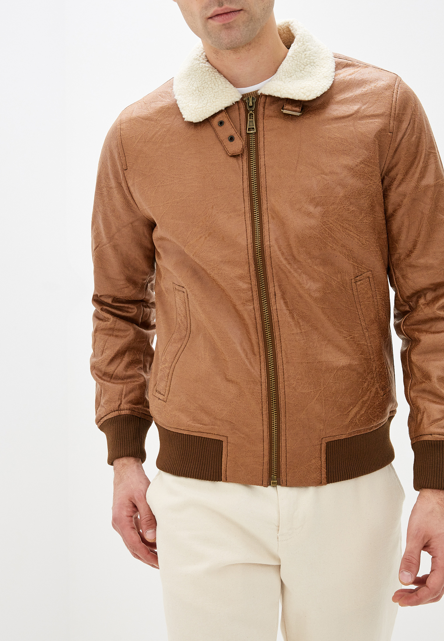 Куртка кожаная, Tony Backer, цвет: коричневый. Артикул: TO043EMHDSC3. Одежда / Верхняя одежда / Кожаные куртки