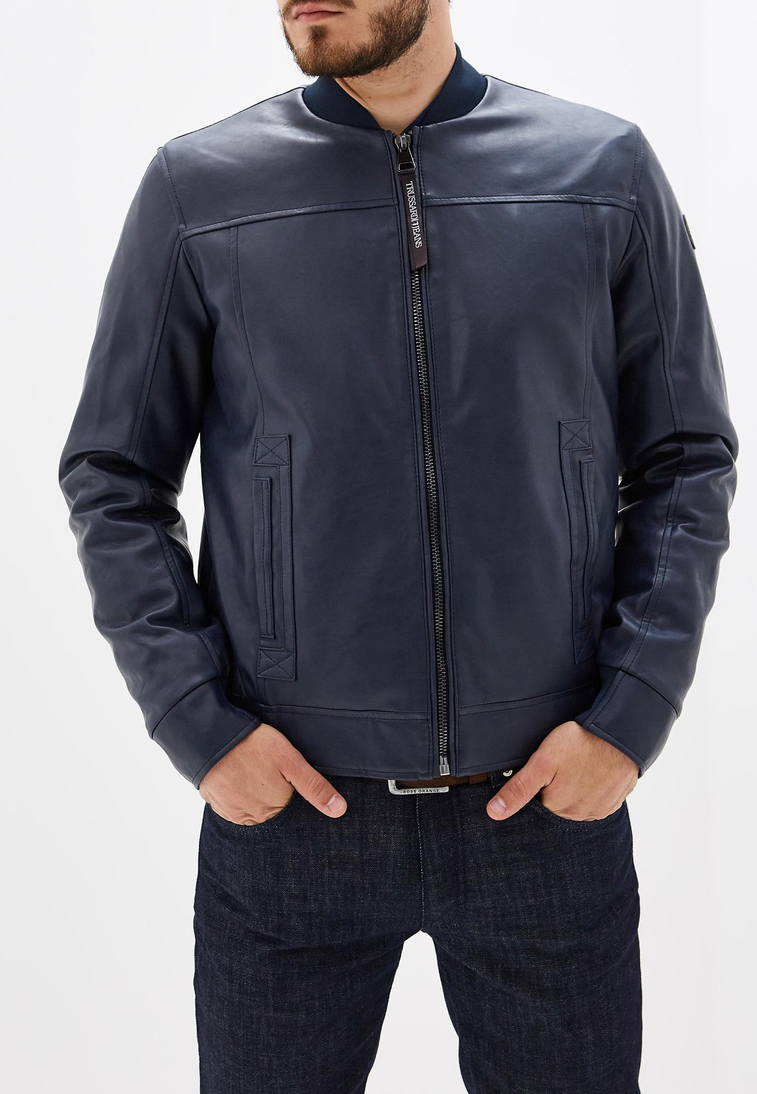 Куртка кожаная, Trussardi Jeans, цвет: синий. Артикул: TR016EMFXDA9. Одежда / Верхняя одежда / Кожаные куртки