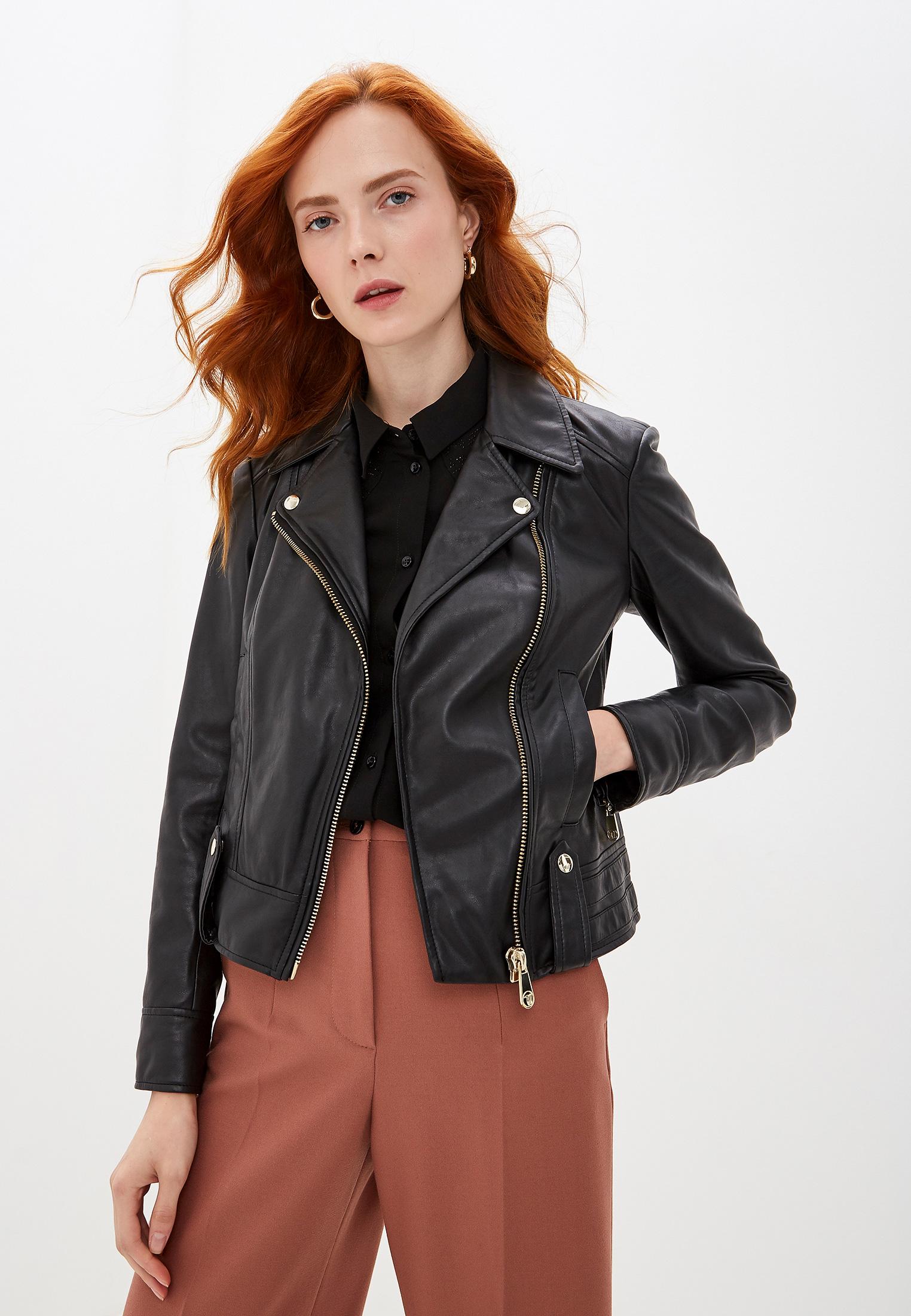 Куртка кожаная, Trussardi Jeans, цвет: черный. Артикул: TR016EWFTBR1. Одежда / Верхняя одежда / Косухи