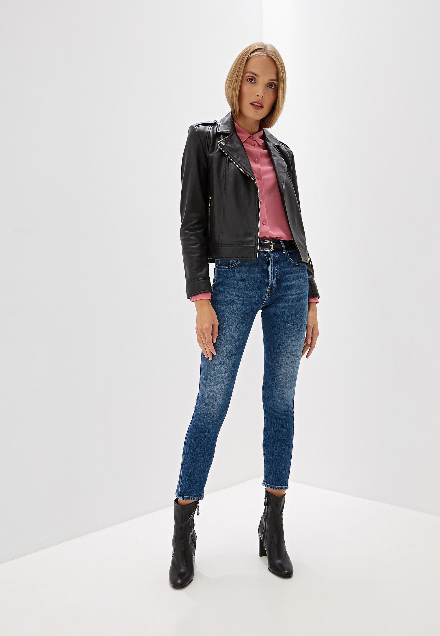 Куртка кожаная, Trussardi Jeans, цвет: черный. Артикул: TR016EWFTBR2. Одежда / Верхняя одежда / Косухи
